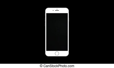 Animation rotation of white mobile phone HD