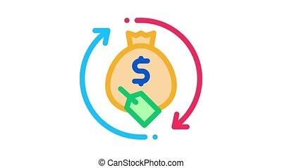 animation, sac, argent, icône, reprise