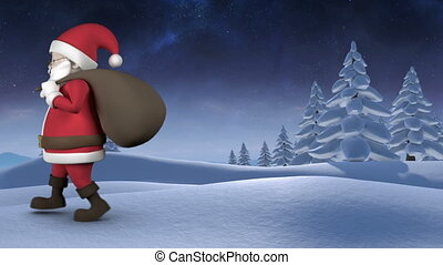 animation, santa, marche
