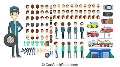 animation., satz, zeichen, mechaniker, uniform