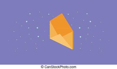 animation, service courrier, enveloppe, postal