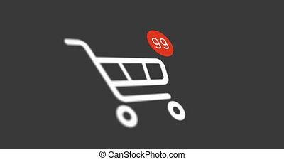 shopping cart icon on white background - animation shopping...