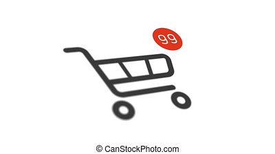 shopping cart icon with counter added online commodity on white background