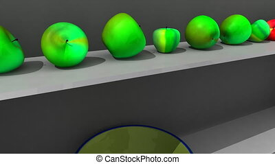 Animation showing 3d-apple on shelf