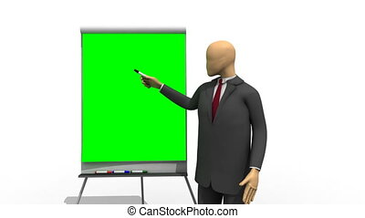 3d-man explaining on a green board