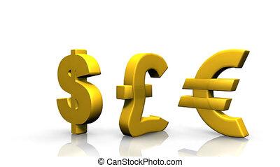 animation showing 3d-money symbols