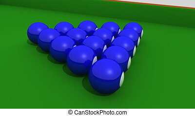 Animation showing a 3d-billiard  on a green table