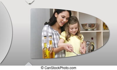 Animation showing happy young families cooking at home