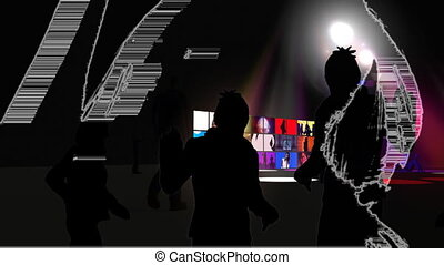 Animation showing people dancing in a night club
