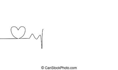 animation Single solid line art cardiogram anatomical human heart silhouette. Healthy medicine and love concept one sketch outline design.