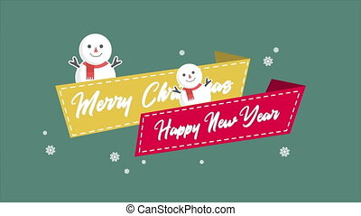 Animation snow people for greeting Merry Christmas...