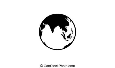 spinning planet earth flat icon background
