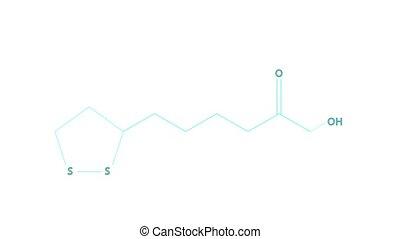 Animation - structural formula of Vitamin N or lipoic acid -...