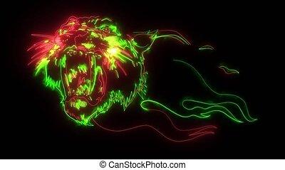 animation, style, numérique, haut, éclairage, tigre, néon
