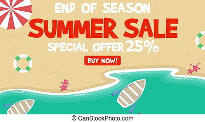 Animation summer sale on the beach background