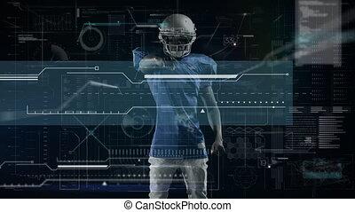 animation, sur, américain, traitement, joueur, numérique, football, données
