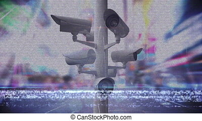 animation, surveillance, ville, fond, appareil photo