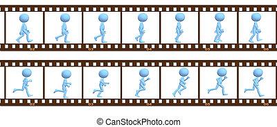 Animation symbol people walk run in cel frames - A 3D...
