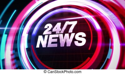 Animation text 24 News and news intro graphic with abstract lines in studio, news background. Elegant and luxury dynamic style for news template