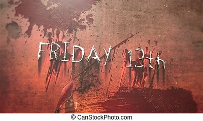 Animation text Friday 13th and mystical horror background with dark blood, abstract backdrop. Luxury and elegant dynamic animation footage of horror theme