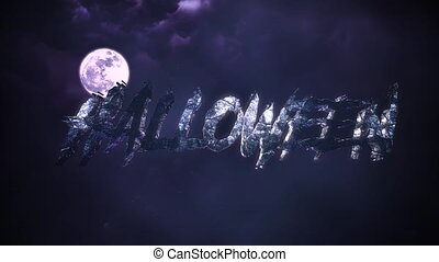 Animation text Halloween and mystical animation halloween background with dark moon and clouds. Holiday abstract backdrop. Luxury and elegant dynamic animation footage of halloween theme