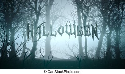 Animation text Halloween and mystical background with dark ...
