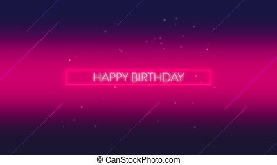 Animation text Happy Birthday and motion abstract neon shape...