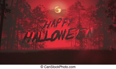 Animation text Happy Halloween and mystical background with ...