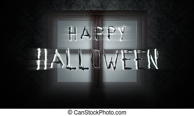Animation text Happy Halloween and mystical horror background with closed window, abstract backdrop