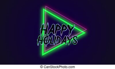 Animation text Happy Holidays and motion abstract geometric ...