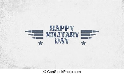Animation text Happy Veterans Day on military background with stars and patrons