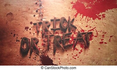 Animation text Trick ad Treat and mystical horror background...
