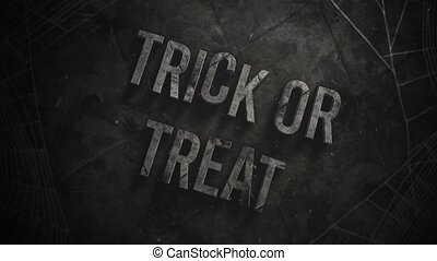 Animation text Trick or Treat and mystical horror background...