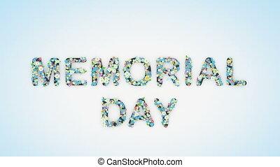 animation, texte, commémoratif, floral, jour, fond