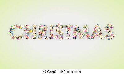 animation, texte, floral, fond, noël