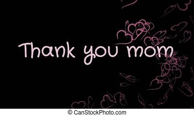 Animation Thank you mom, mother's day, greeting card, pink...