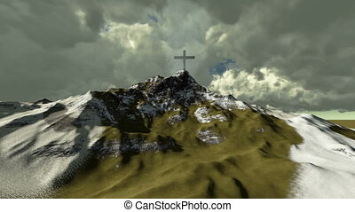 The cross on top of snowy mountain