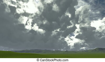 Time lapse on a green meadow with gloomy clouds -...
