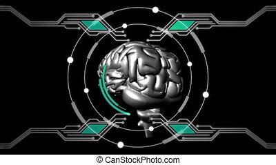 animation, tourner, humain, fond, métallique, noir, cerveau, 3d