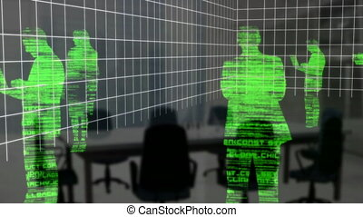 animation, traitement, gens, silhouette, vert, données, incandescent, business