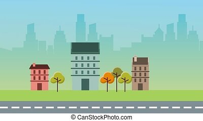 animation urban district trees and street city background