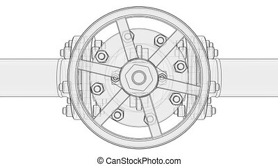 Animation valve opening. Industrial concept. A drawing or sketch style. 3D illustration video