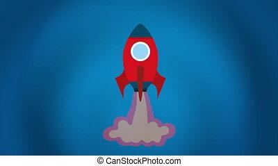 animation, vidéo, conception, fusée, icône