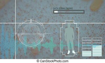 Virus, bacteria, microbe. HUD Futuristic medical background
