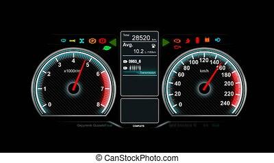 animation, von, auto, armaturenbrett, geschwindigkeit, rpm,...