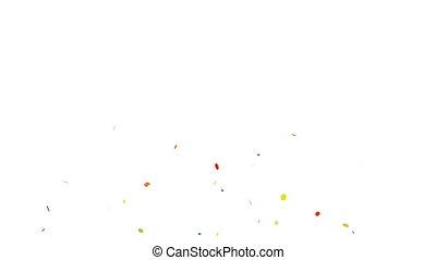 animation, von, bunte, konfetti, fallender