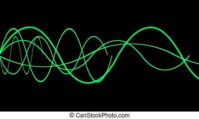 animation, von, grün, linien, welle