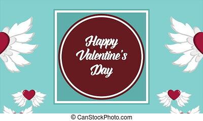 animation, von, liebe, flügel , für, valentine, tag