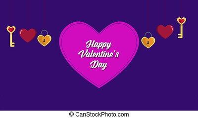 animation, von, schlüssel, herz, für, valentine, gruß