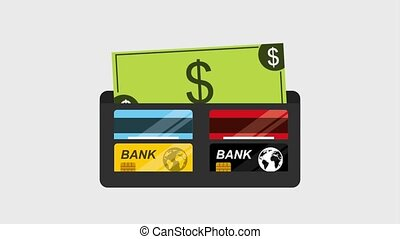 animation wallet bank cards banking icon  ilustration